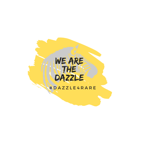 "Dazzle4Rare 2020 Logo - image of yellow paint splash with grey zebra overlay. Words read, ""We are the dazzle."""