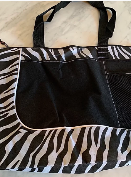 Zebra print carry-all bag front