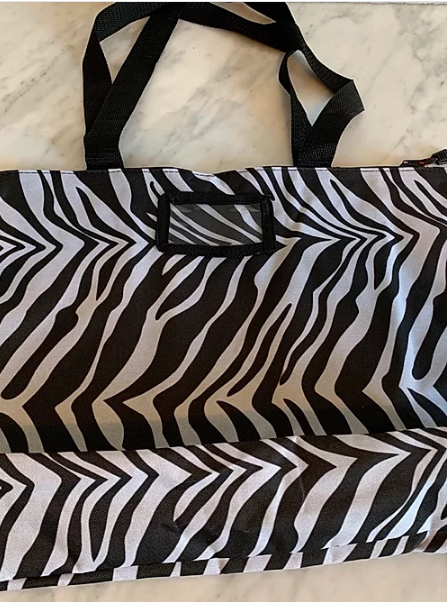 Zebra print carry-all bag back